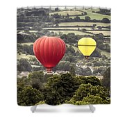 Two Hot Air Baloons Drifting Shower Curtain