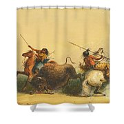 Two Indians Killing A Buffalo Shower Curtain