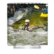Two Kayakers On A Fast River Shower Curtain