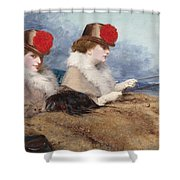 Two Ladies In A Carriage Ride Shower Curtain
