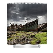 Two Large Boats Abandoned On The Shore Shower Curtain