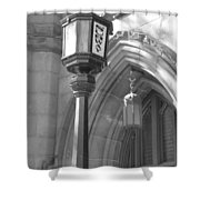 Two Lights And A Church Shower Curtain