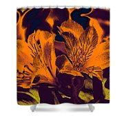Two Lilies Gradient Ink Outline Shower Curtain