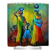 Two Little Girls Carrying Water Shower Curtain