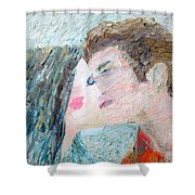 Two Lovers Kissing Shower Curtain