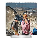 Two Male Hiker Stop To Look Shower Curtain