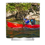 Two Men In A Tandem Canoe Shower Curtain