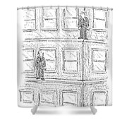 Two Men On Different Ledges Of A Building Shower Curtain