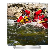 Two Men Paddling A Red Whitewater Canoe Shower Curtain