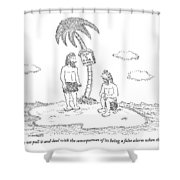 Two Men Sitting On An Island Shower Curtain