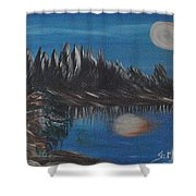 Two Moons That Meet In The Night Shower Curtain