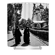 Two Nuns- Black And White - Novodevichy Convent - Russia Shower Curtain