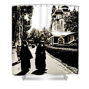 Two Nuns - Sepia - Novodevichy Convent - Russia Shower Curtain