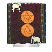 Two Of Pentacles Shower Curtain