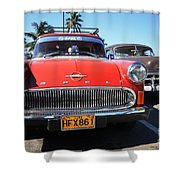 Two Old American Cars Shower Curtain