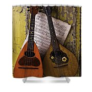 Two Old Mandolins Shower Curtain