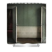 Two Open Doors In An Eerie Creepy House Leading To A Red Stairca Shower Curtain