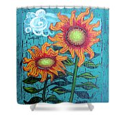 Two Orange Sunflowers Shower Curtain