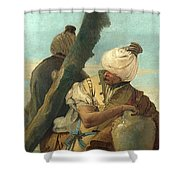 Two Orientals Seated Under A Tree Shower Curtain