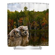 Two Owlets At A Lakeshore Shower Curtain