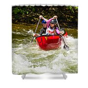 Two Paddlers In A Whitewater Canoe Making A Turn Shower Curtain