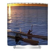 Two Paddlers In Sea Kayaks At Sunrise Shower Curtain