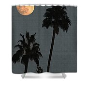 Two Palms And The Moon Shower Curtain