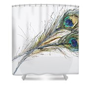 Two Peacock Feathers Shower Curtain