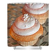 Two Pink Cupcakes Art Prints Shower Curtain