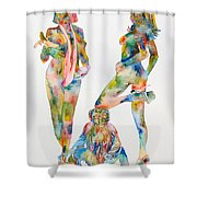 Two Psychedelic Girls With Chimp And Banana Portrait Shower Curtain by Fabrizio Cassetta