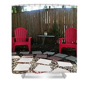 Two Red Chairs Shower Curtain