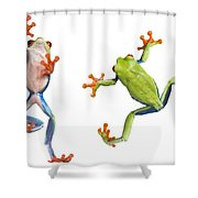 Two Red Eyed Tree Frogs Shower Curtain