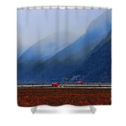 Two Red Farm Buildings Shower Curtain