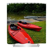 Two Red Kayaks Shower Curtain