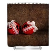 Two Red Ornaments Shower Curtain