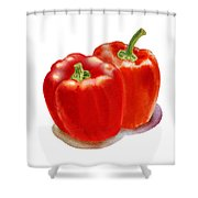 Two Red Peppers Shower Curtain