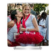 Two Red Tutus At Running Of The Bulls Shower Curtain