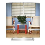 Two Rocking Chairs On The Porch Shower Curtain