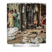Two Sides To One Story Shower Curtain