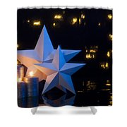 Two Stars In Front Of Dark Background Shower Curtain