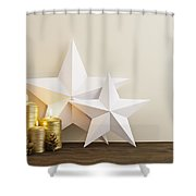 Two Stars With Golden Candles Shower Curtain
