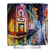 Two Streets - Palette Knife Oil Painting On Canvas By Leonid Afremov Shower Curtain