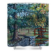 Two Trees And A Gate Shower Curtain