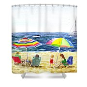 Two Umbrellas On The Beach California  Shower Curtain