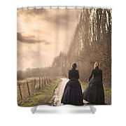 Two Victorian Ladies Walking On A Cobbled Path Shower Curtain