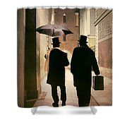 Two Victorian Men Wearing Top Hats In The Old Alley Shower Curtain
