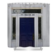 Two Whale Oil Row - Blue Door - New London Shower Curtain
