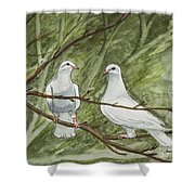 Two White Doves Shower Curtain