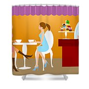 Two Woman Friends Having Coffee Shower Curtain
