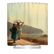 Two Women Chatting By The Sea. St Thomas Shower Curtain